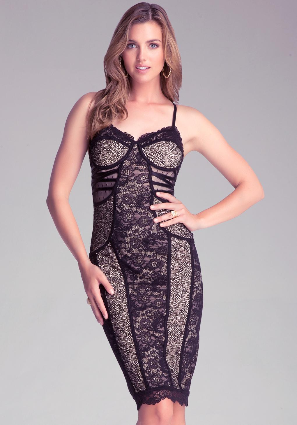 Bebe black one shoulder mixed lace dress