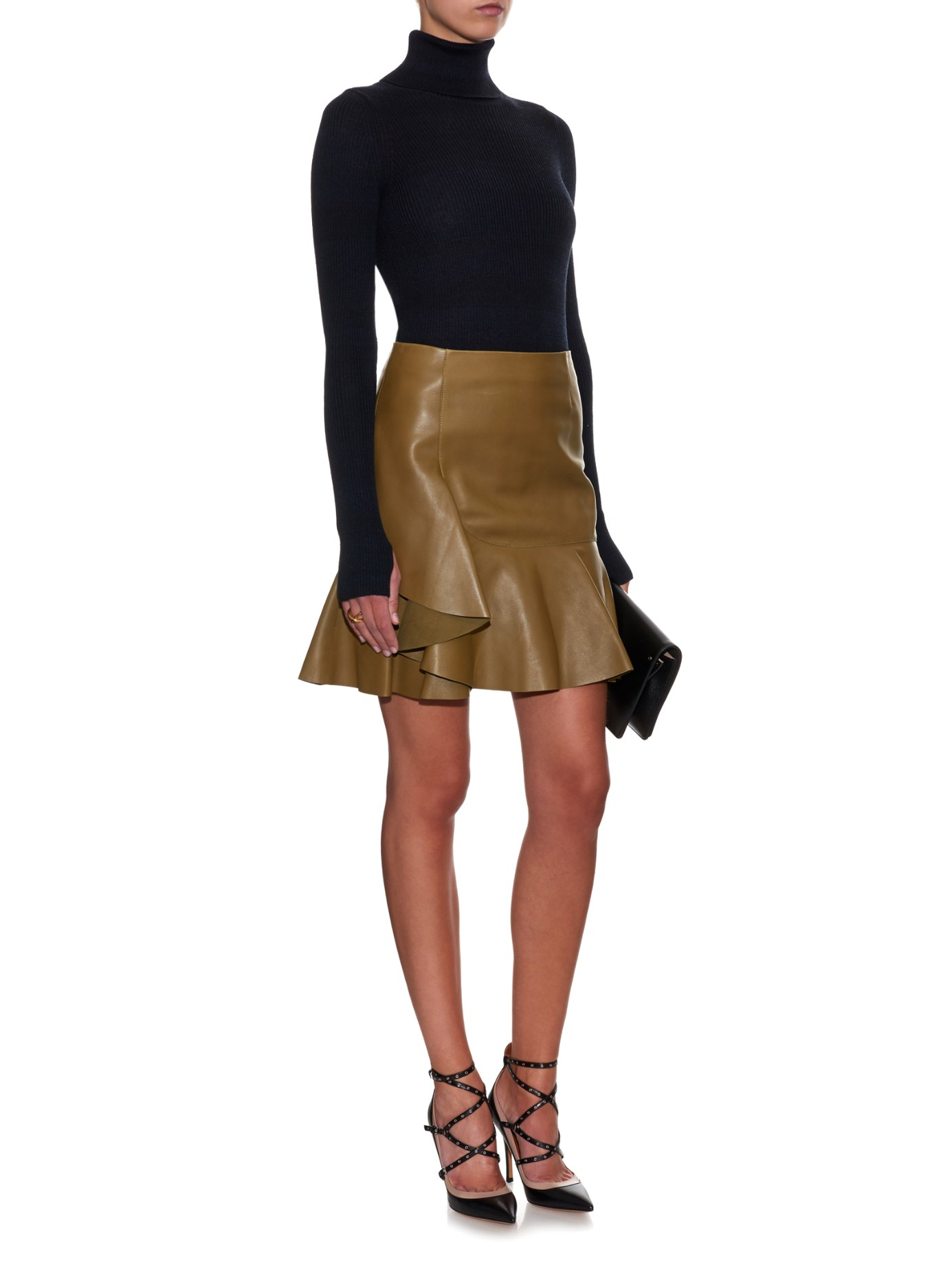 Alexander mcqueen Asymmetric Ruffled Leather Mini Skirt in Natural ...