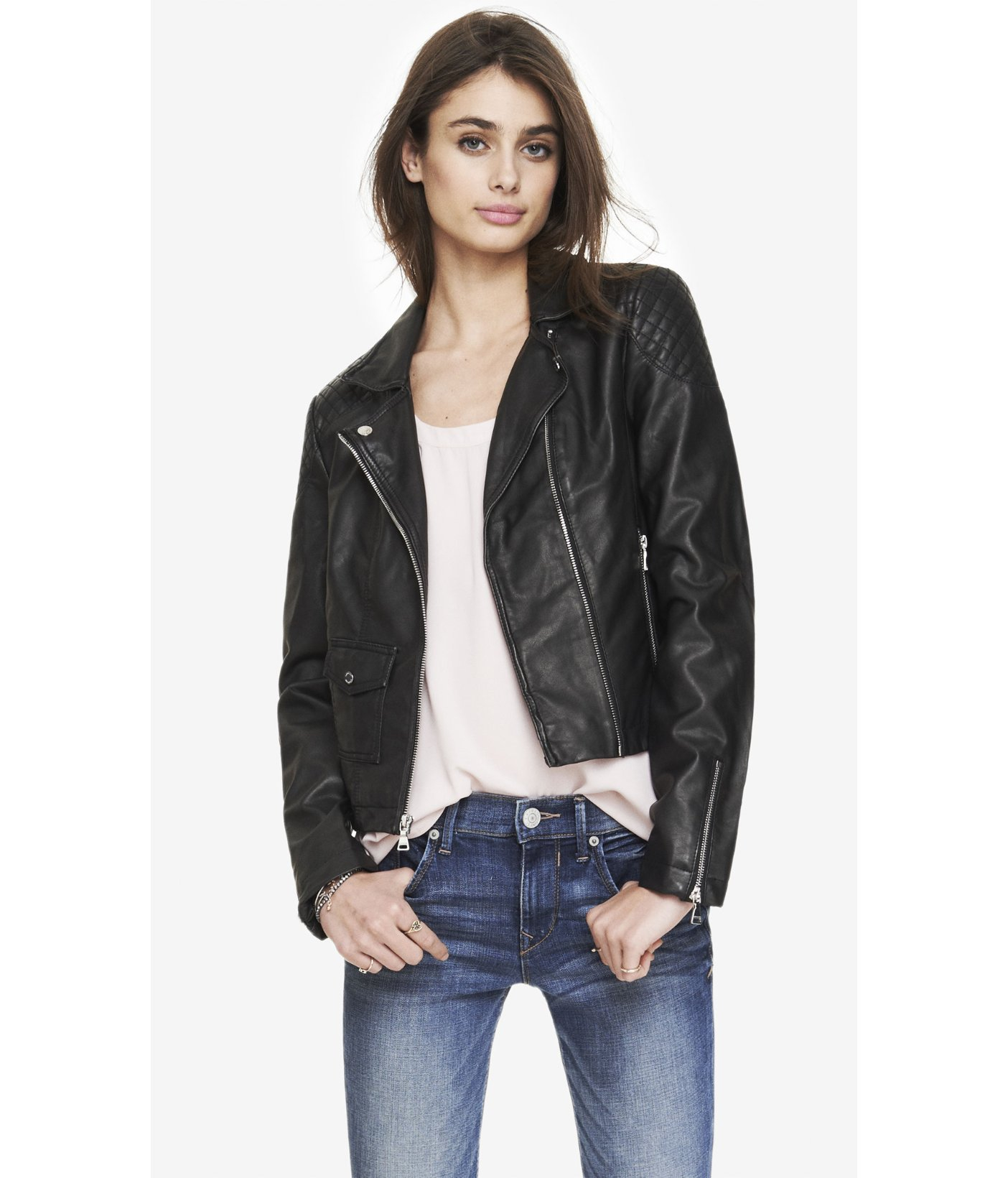 Lyst - Express (Minus The) Leather Diamond Quilted Moto Jacket in ... : express quilted leather jacket - Adamdwight.com