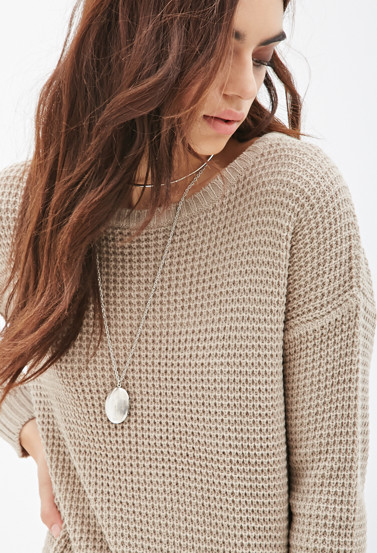 Forever 21 Chunky Knit Oversized Sweater in Brown | Lyst