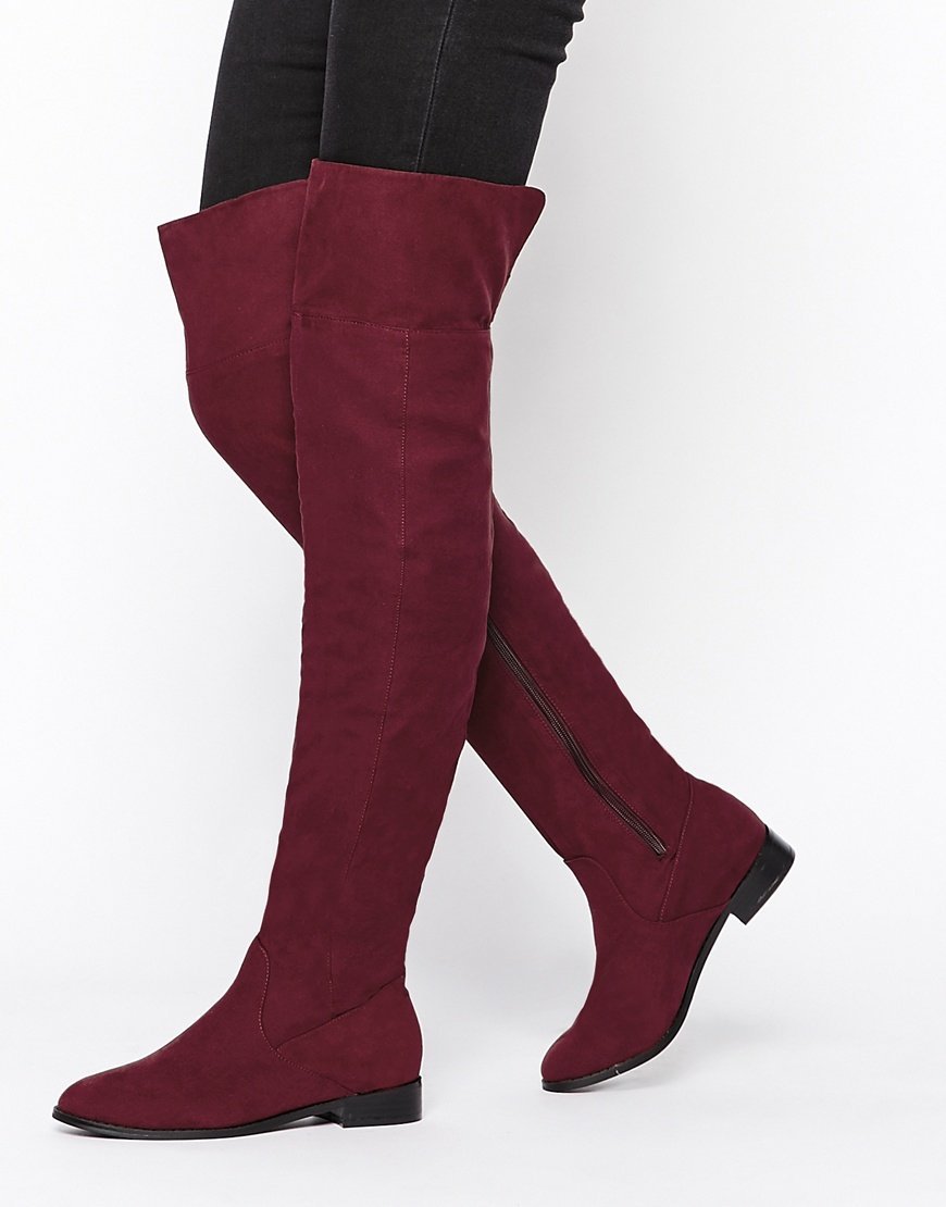 Asos Kiss Me Quick Over The Knee Boots in Purple | Lyst