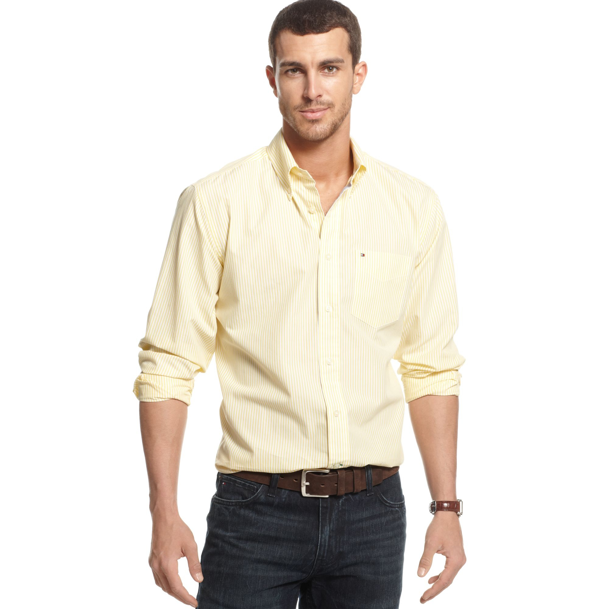 978ace74 Lyst - Tommy Hilfiger Big and Tall Cheever Striped Shirt in Yellow ...