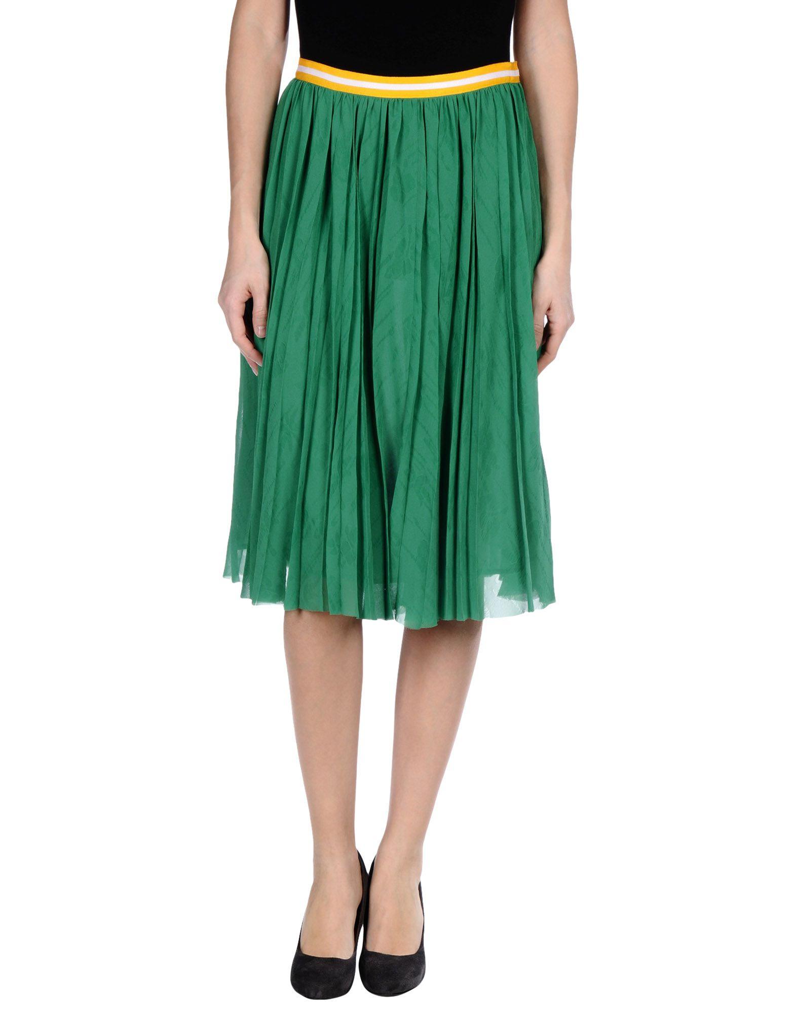 muveil green knee length skirt lyst