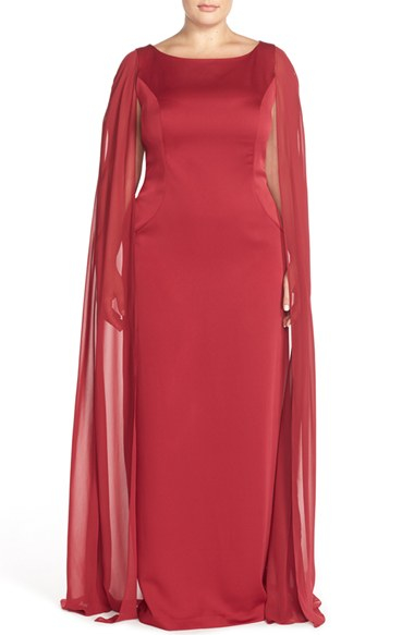7d3b94508b8d1 Adrianna Papell Satin Column Gown With Chiffon Cape in Red - Lyst
