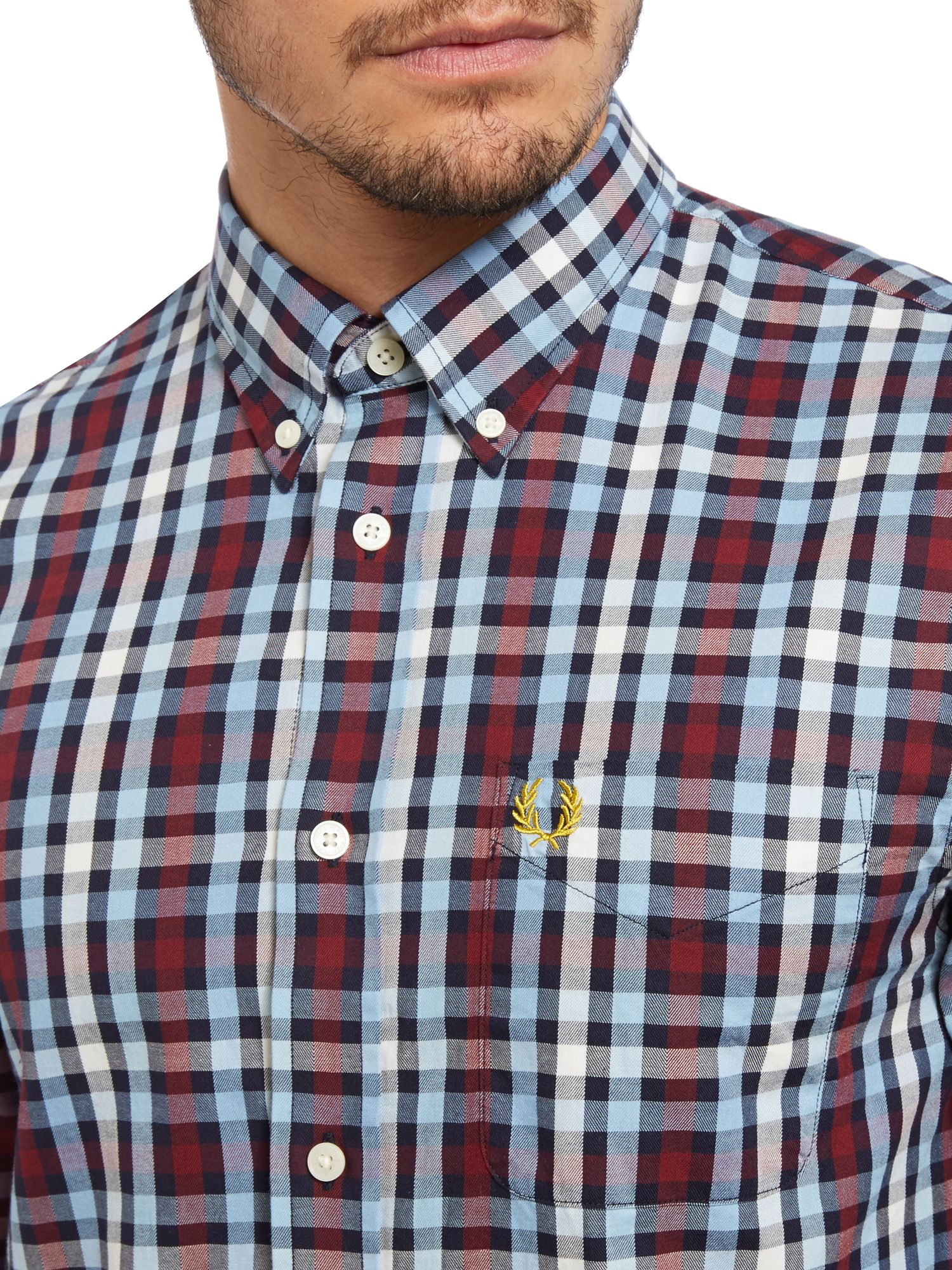 Fred perry long sleeve multi check shirt in blue for men for Fred perry mens shirts sale