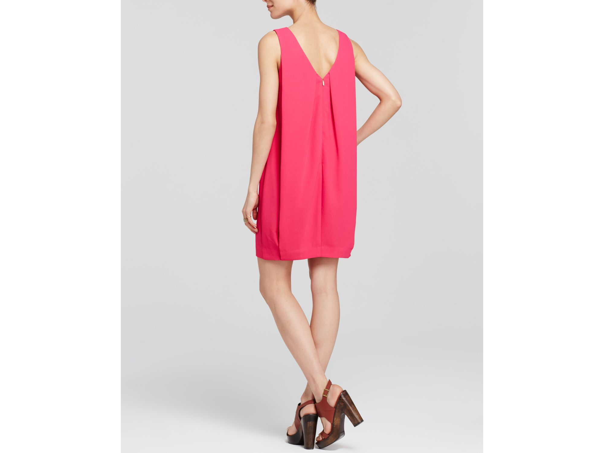 Trina turk Dress - Azure V-neck Crepe Shift in Pink | Lyst