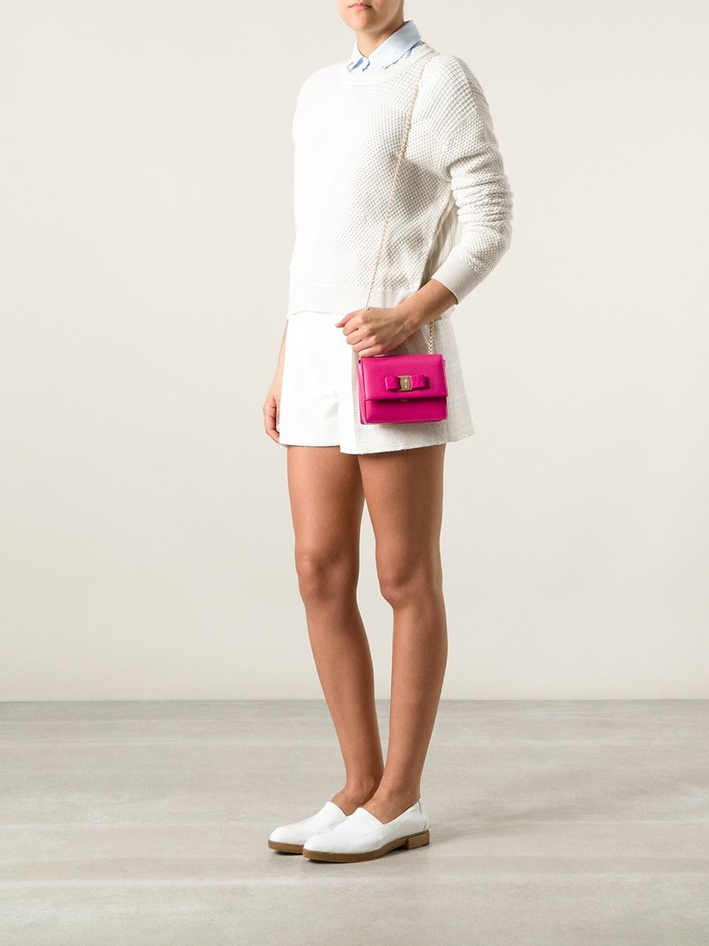 87f27fe108 Lyst - Ferragamo Ginny Shoulder Bag in Pink