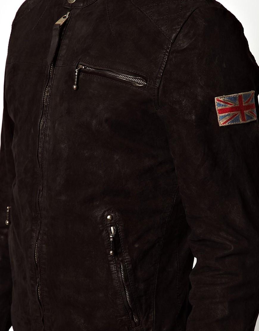 pepe jeans pepe leather biker jacket gig slim fit in black. Black Bedroom Furniture Sets. Home Design Ideas