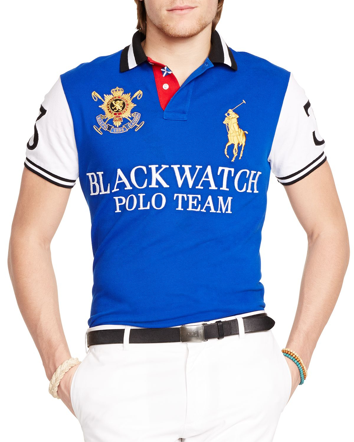 Ralph lauren Polo Black Watch Custom-fit Pieced Polo Shirt - Slim Fit in Blue