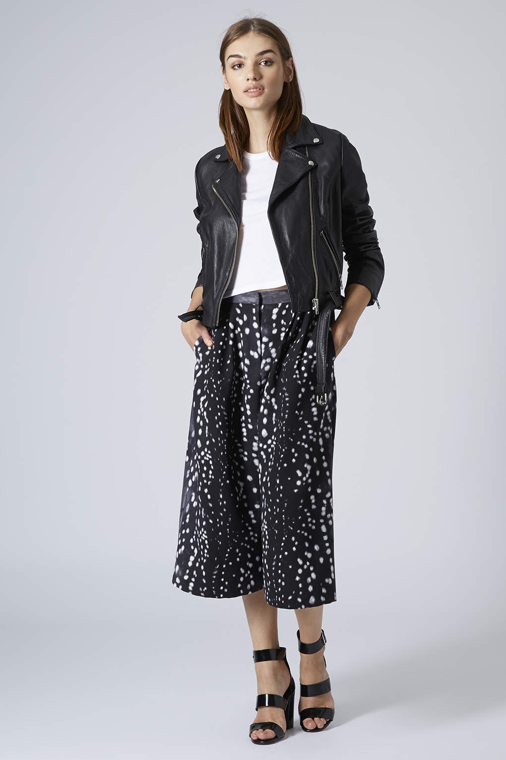 Topshop womens bambi feather print culottes grey in gray for Womens denim shirts topshop