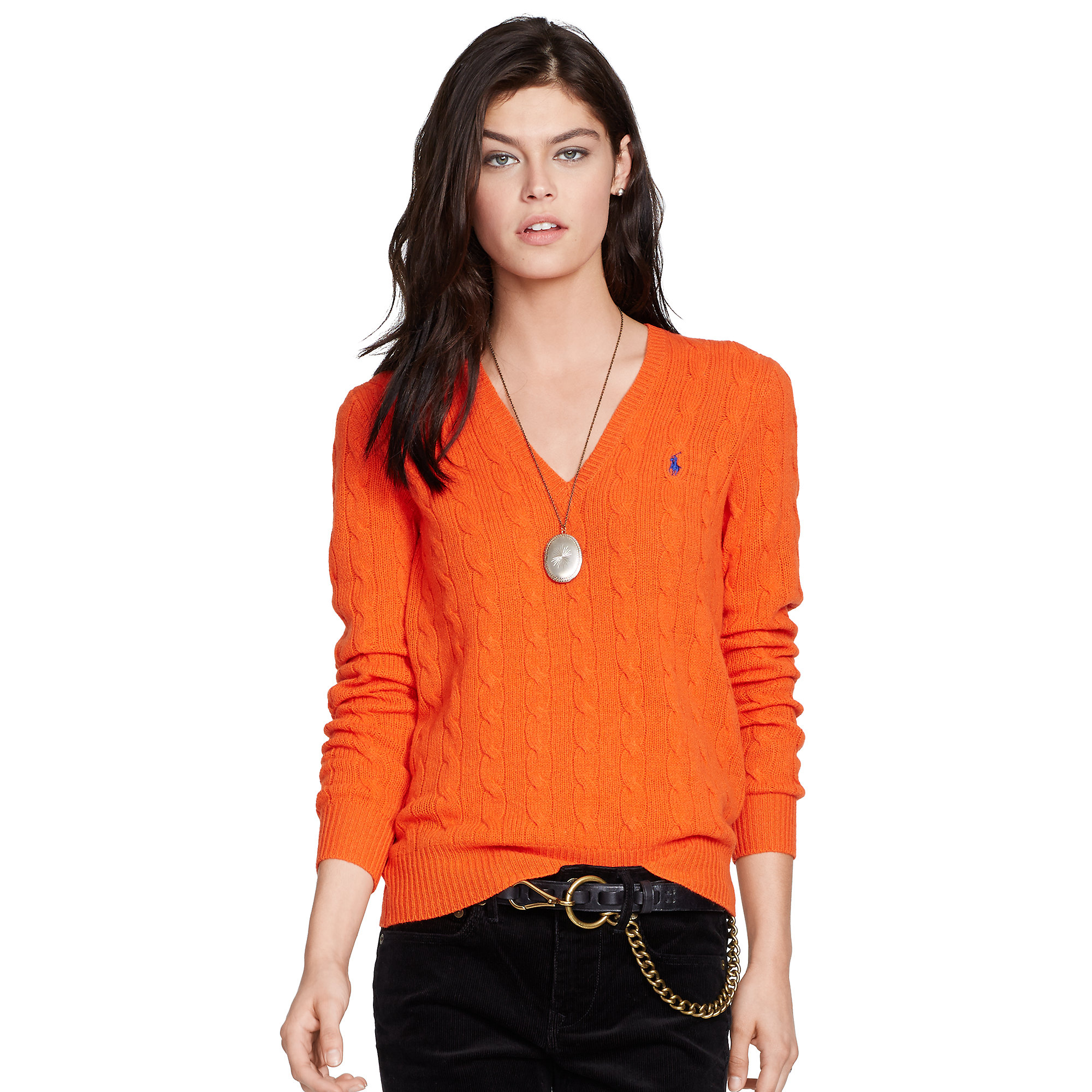 Polo ralph lauren Cable-Knit V-Neck Sweater in Orange | Lyst