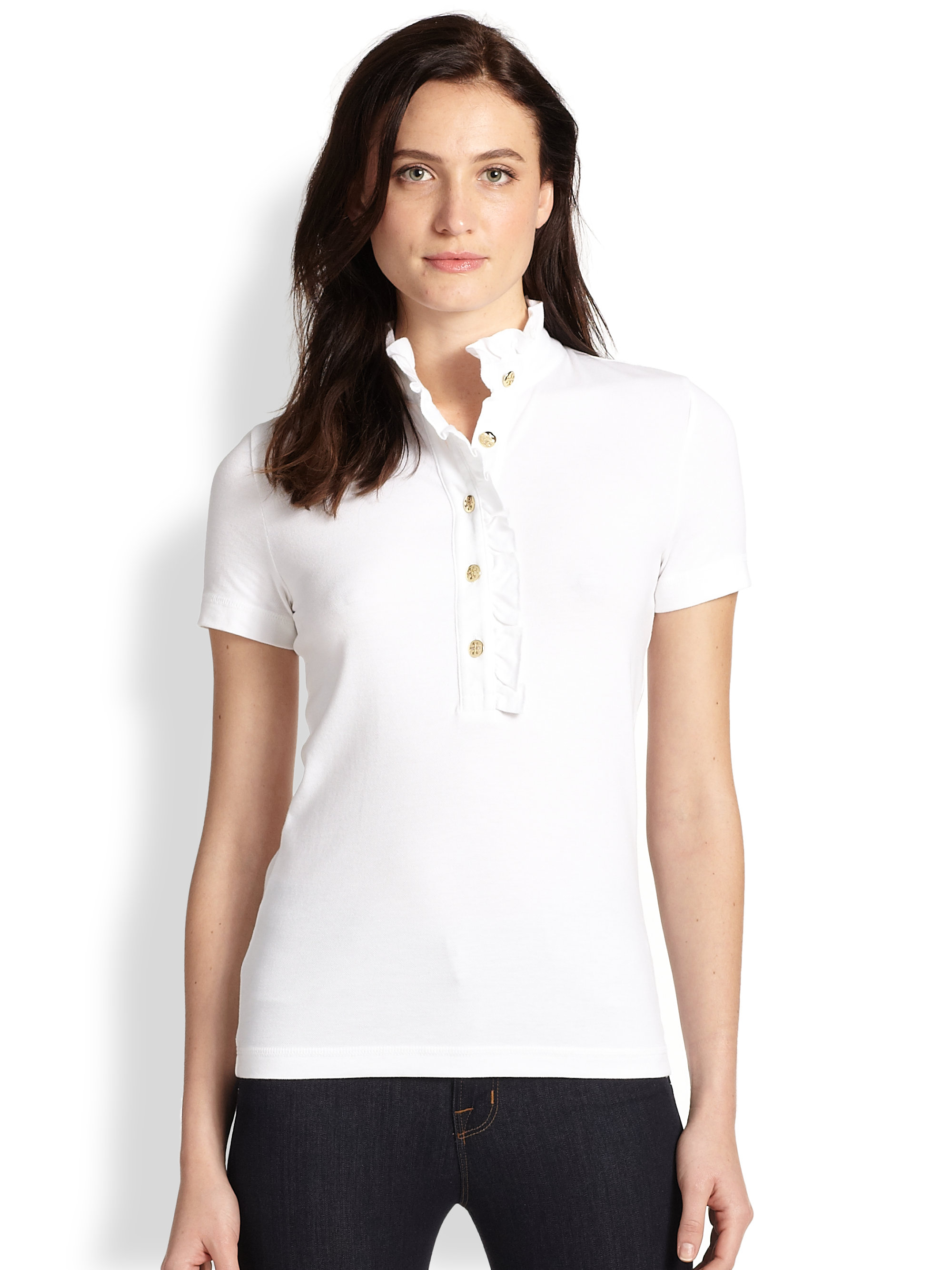 1a7c0f5fbe9 Lyst - Tory Burch Lidia Ruffled Polo Shirt in White