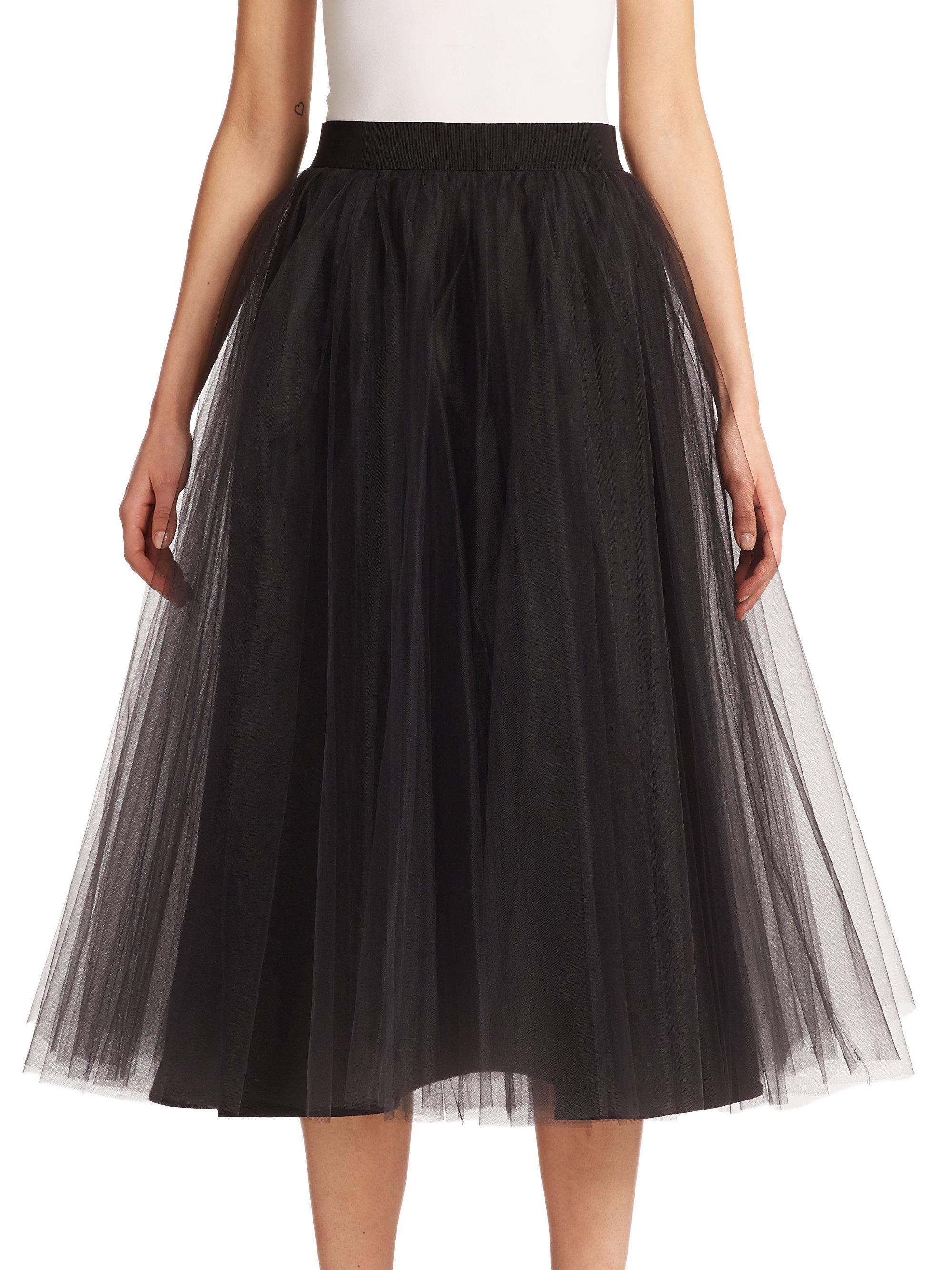 badgley mischka tulle midi skirt in black lyst