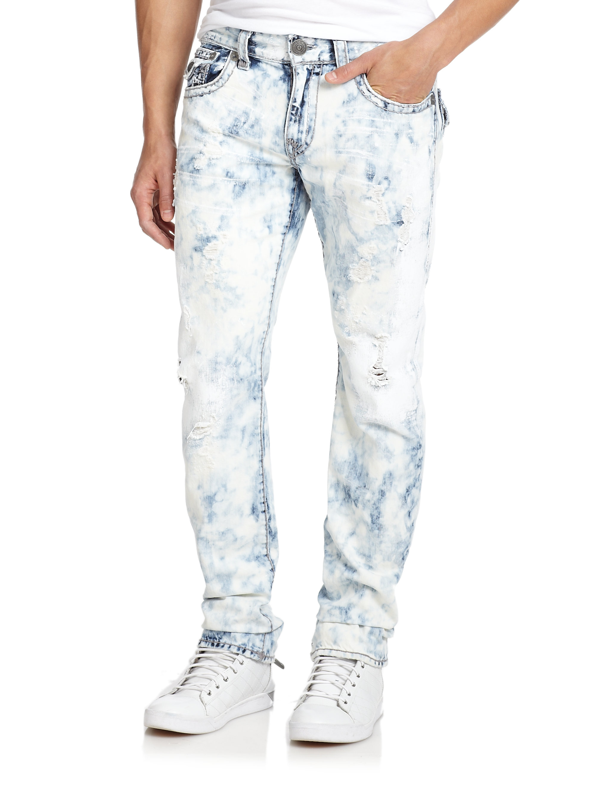 true religion ricky washed straight leg jeans in blue for. Black Bedroom Furniture Sets. Home Design Ideas