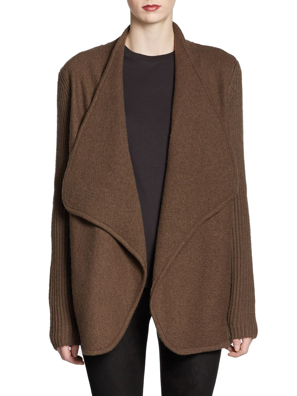 Lyst Vince Boiled Felted Wool Sweater Coat In Brown