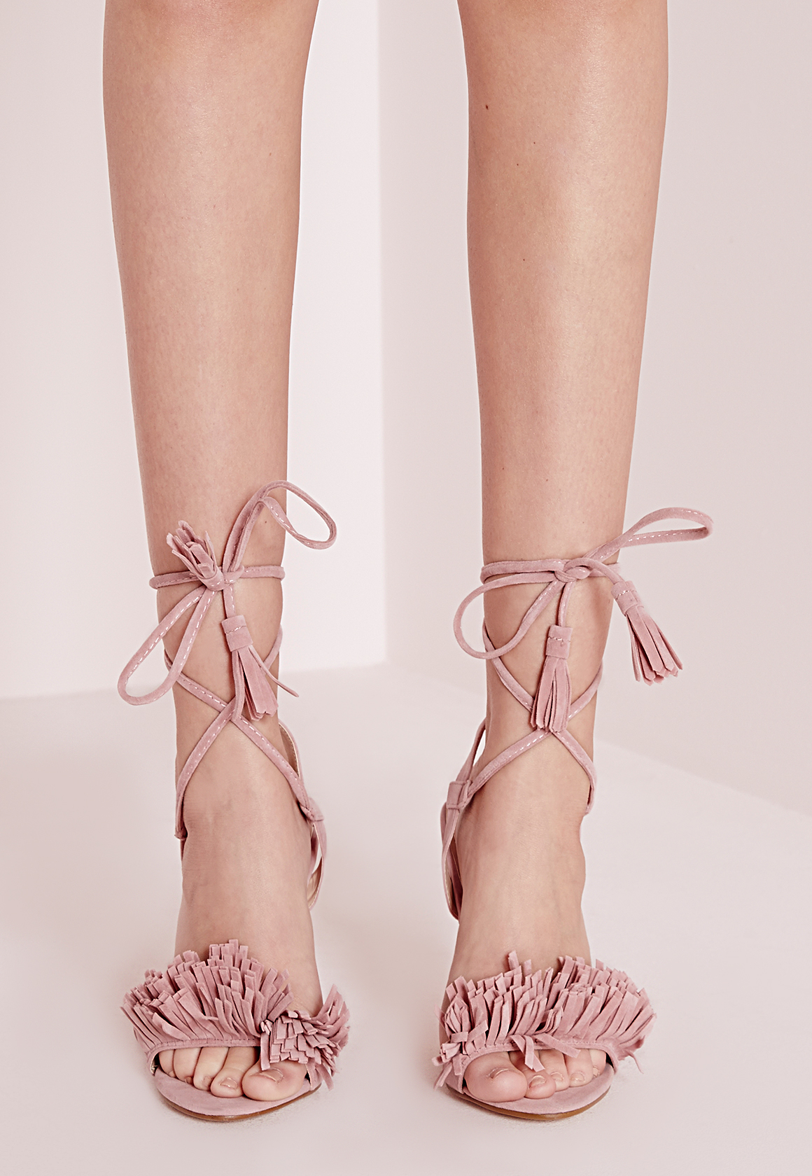 314a79bbb8a0a Lyst - Missguided Tassel Detail Barely There Heeled Sandals Pink in Pink