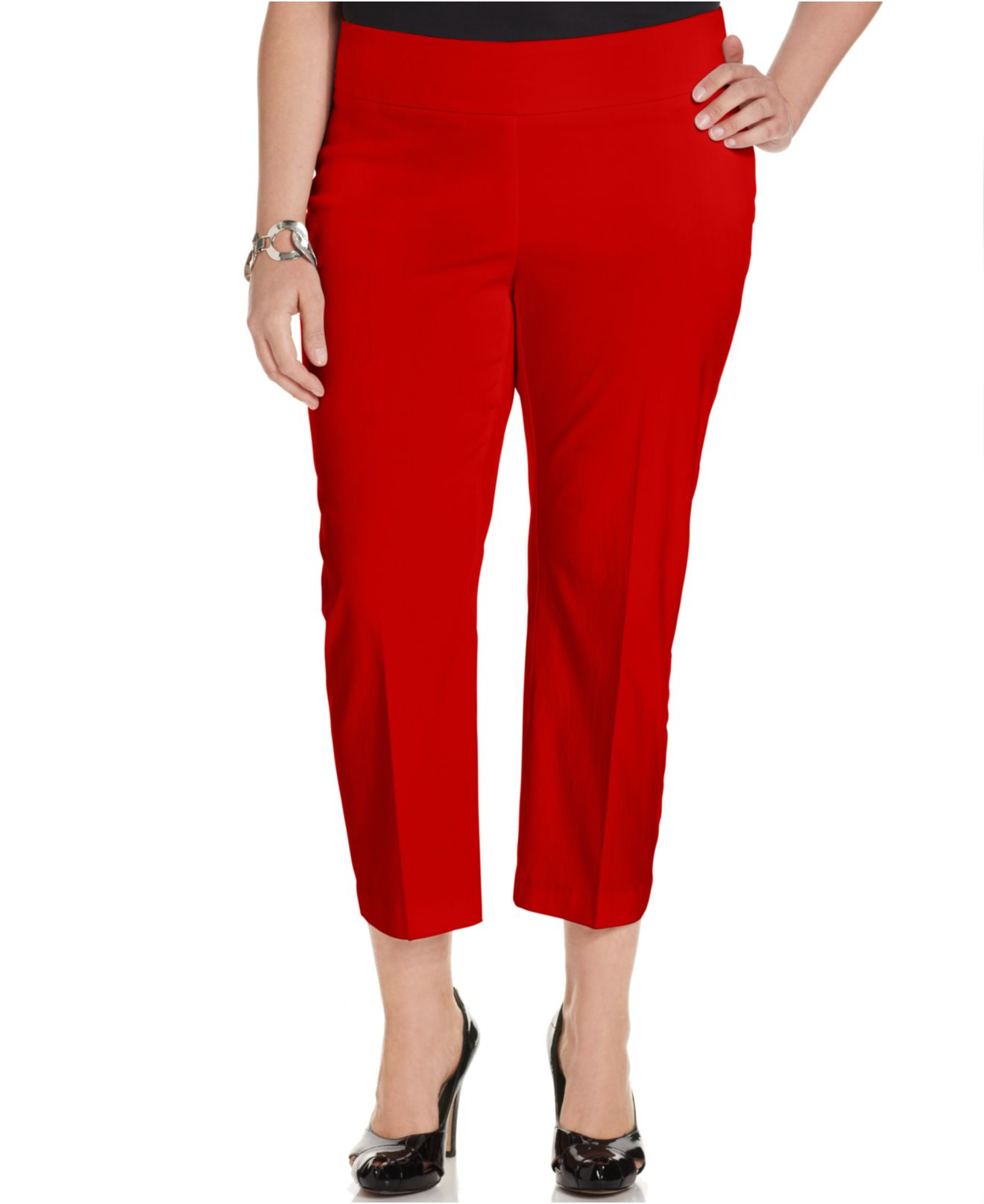 Alfani Plus Size Pull-on Capri Pants in Red | Lyst