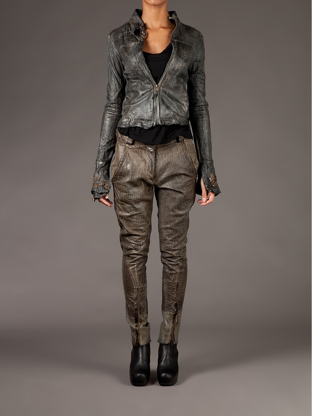 Lyst Le Cuir Perdu Used Effect Leather Jacket In Gray