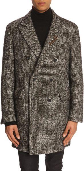 Atelier scotch wrap around woollen grey zigzag knit coat for Atelier maison scotch