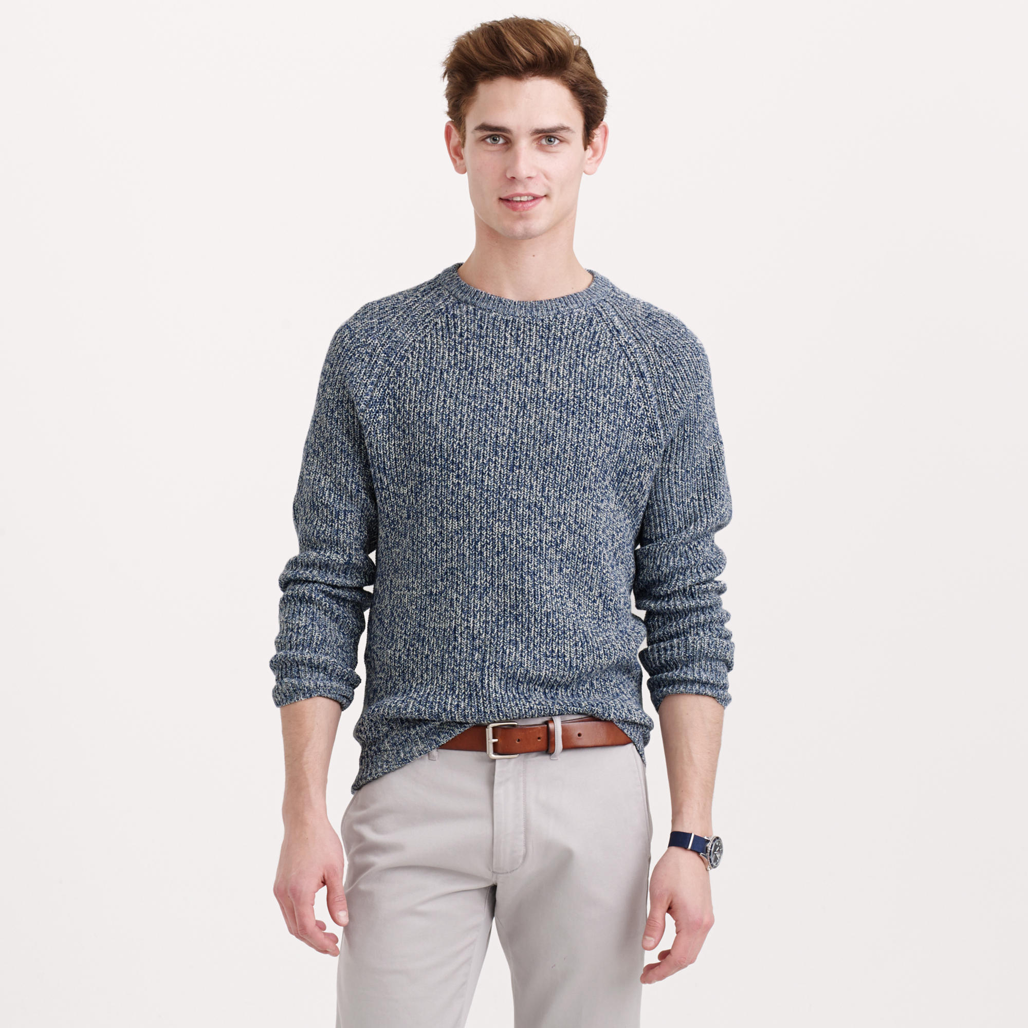 Marled cotton crewneck sweater for men lyst for J crew mens outfits