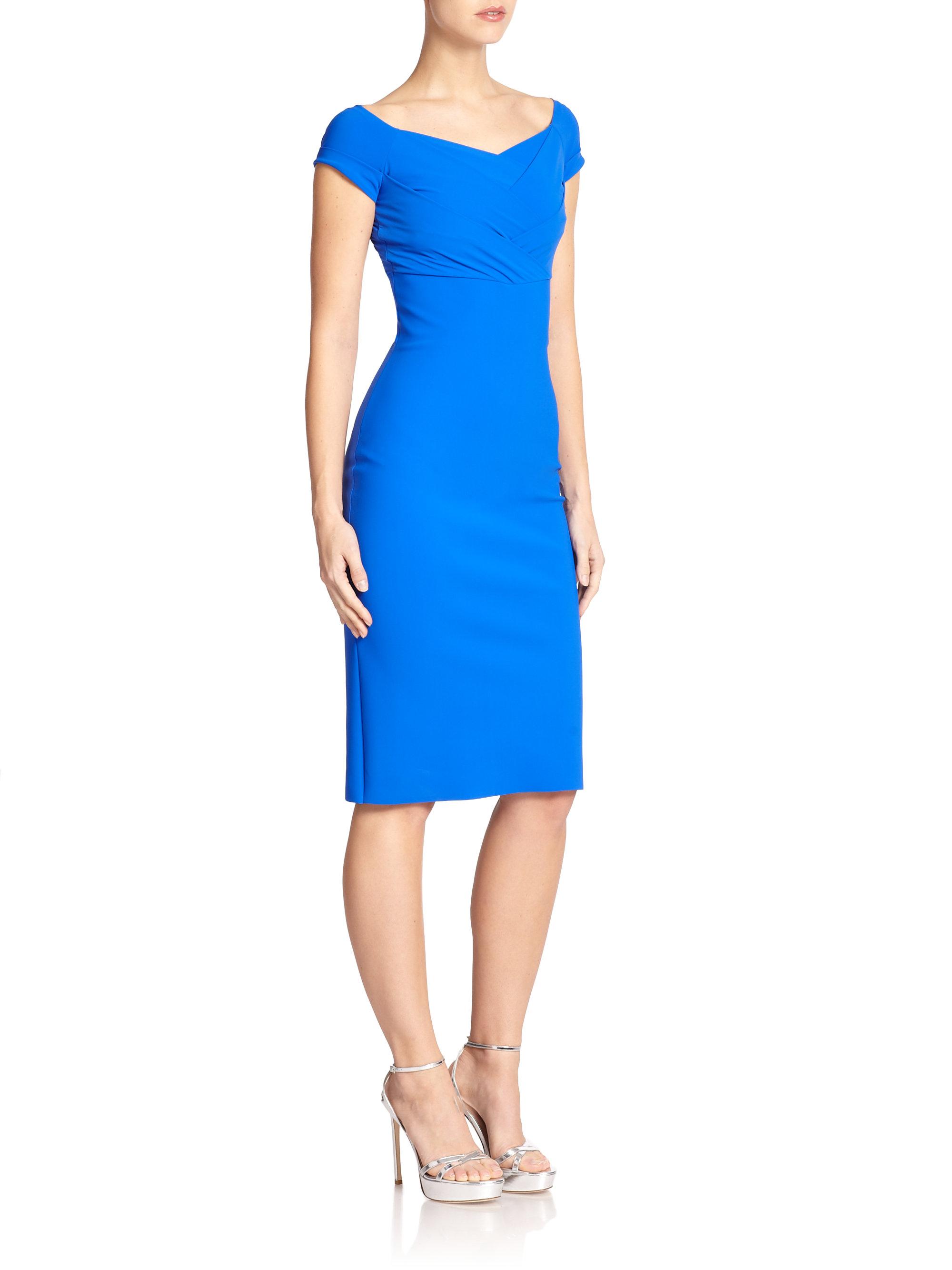 la petite robe di chiara boni off the shoulder sheath dress in blue lyst. Black Bedroom Furniture Sets. Home Design Ideas