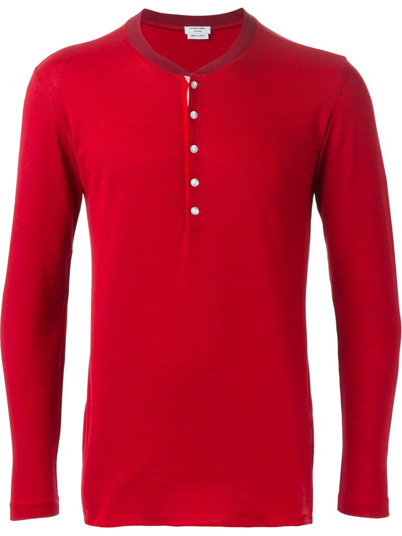 Thom browne button fastening long sleeve t shirt in red for Thom browne shirt sale