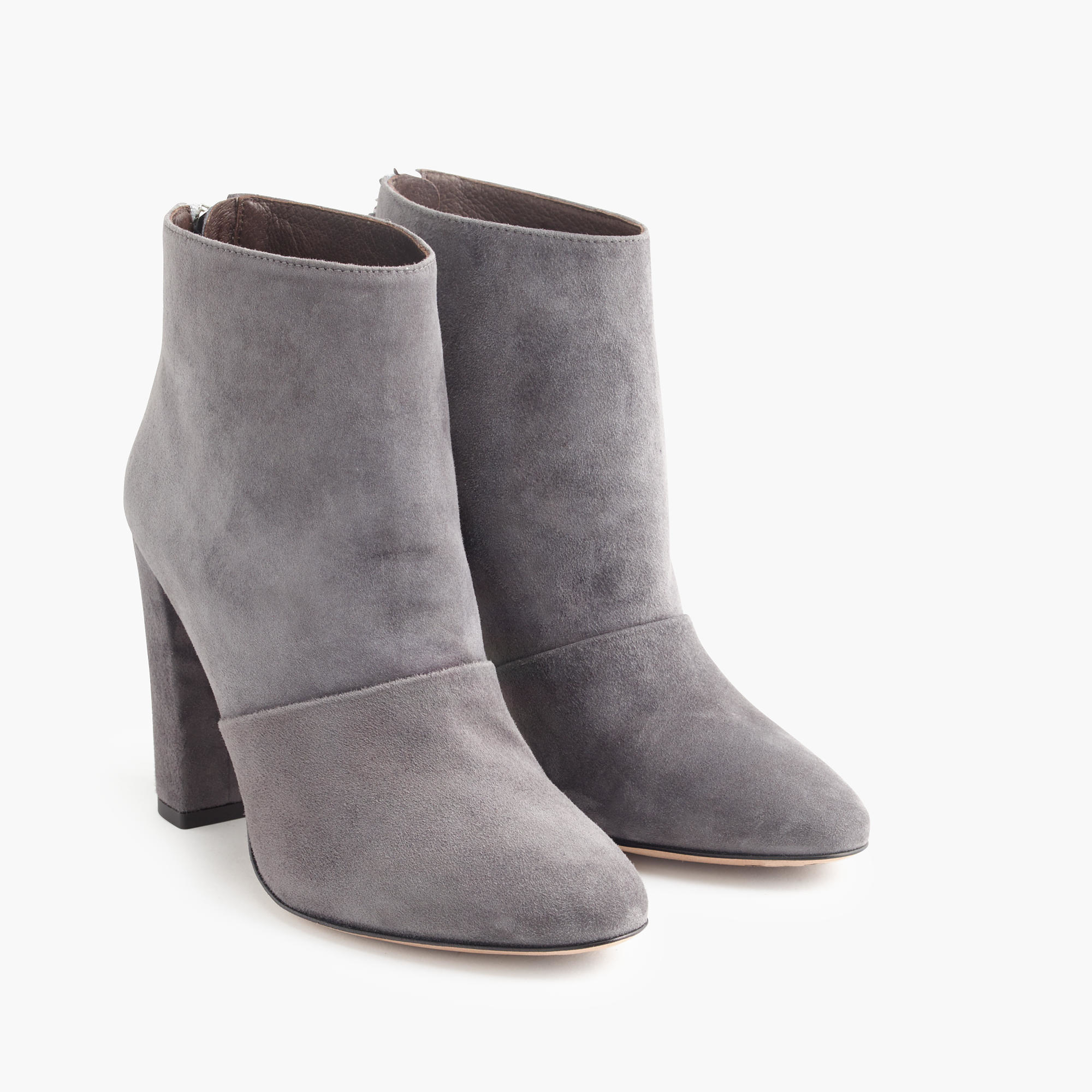 j crew adele suede ankle boots in gray heron grey lyst
