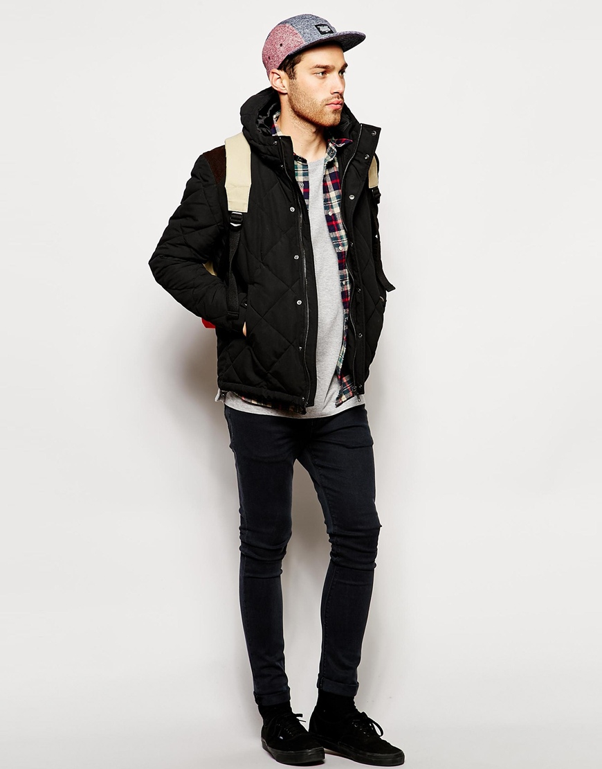 Lyst - Asos Quilted Jacket With Contrast Shoulder Patch in Black ... : mens quilted jacket with shoulder patch - Adamdwight.com