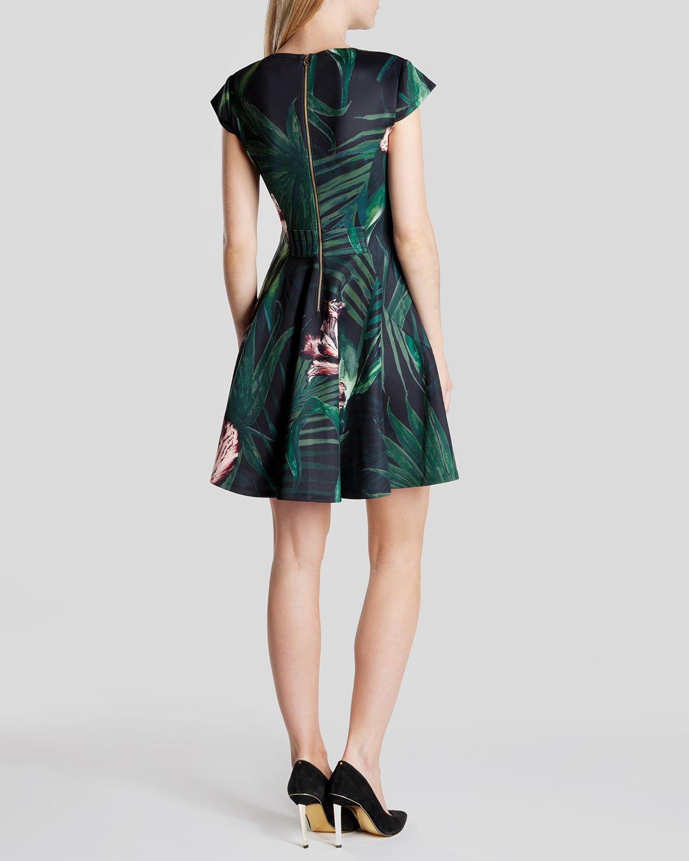 ted baker floral dress green