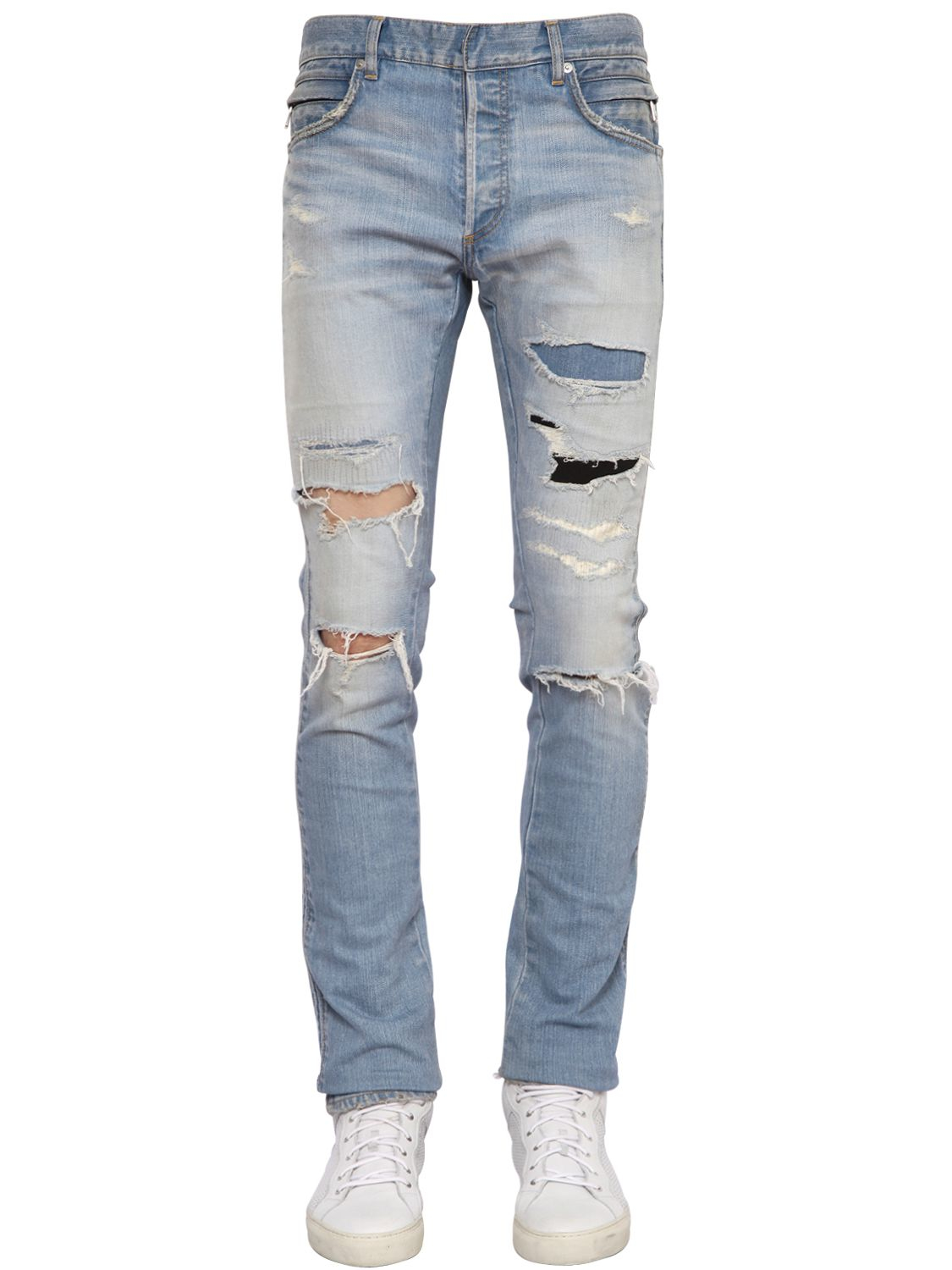 Balmain Destroyed Stretch-Denim Jeans in Blue for Men | Lyst - photo#19