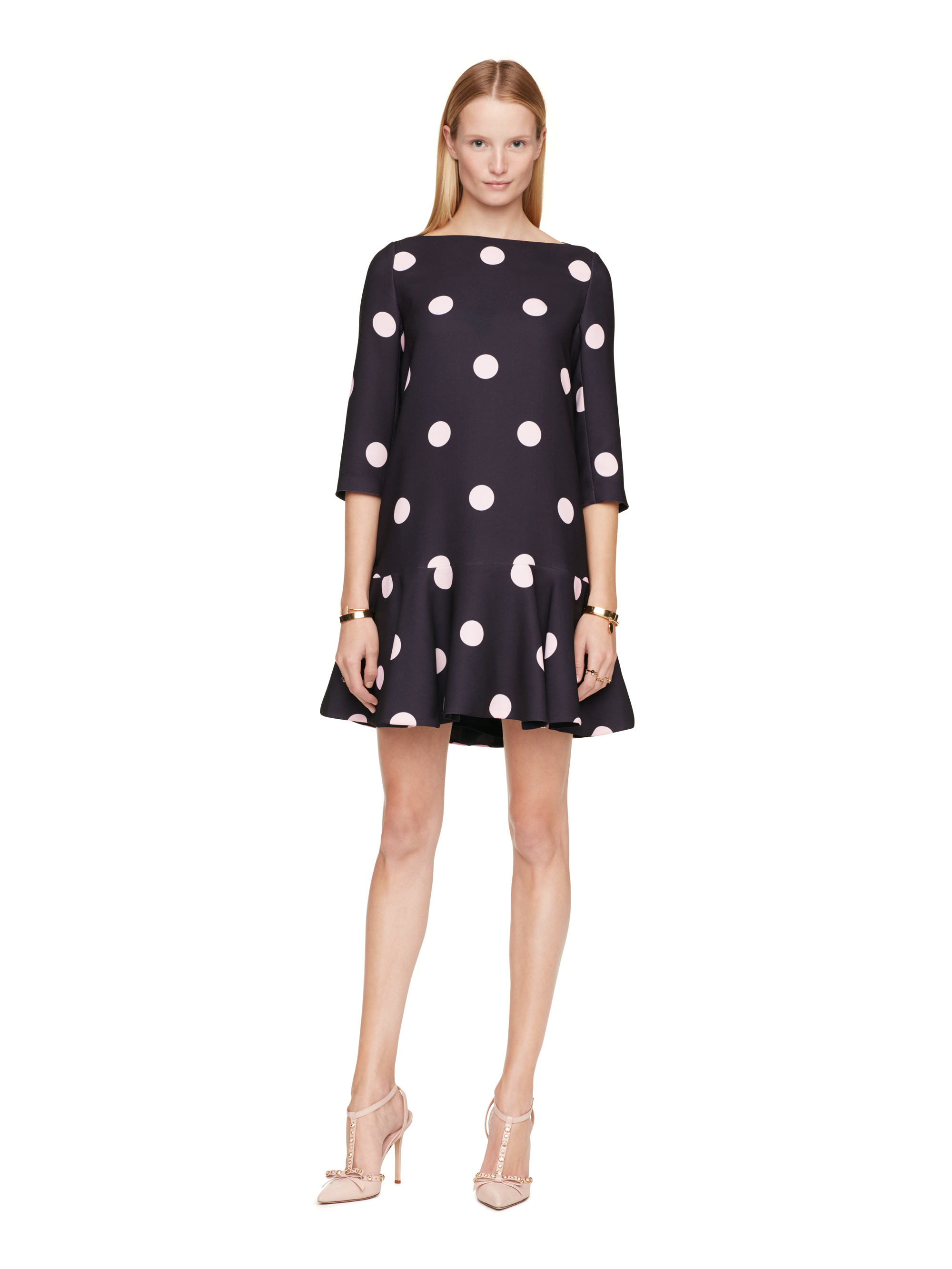 Kate spade new york spotlight flounce dress in blue lyst for New york and company dress shirts