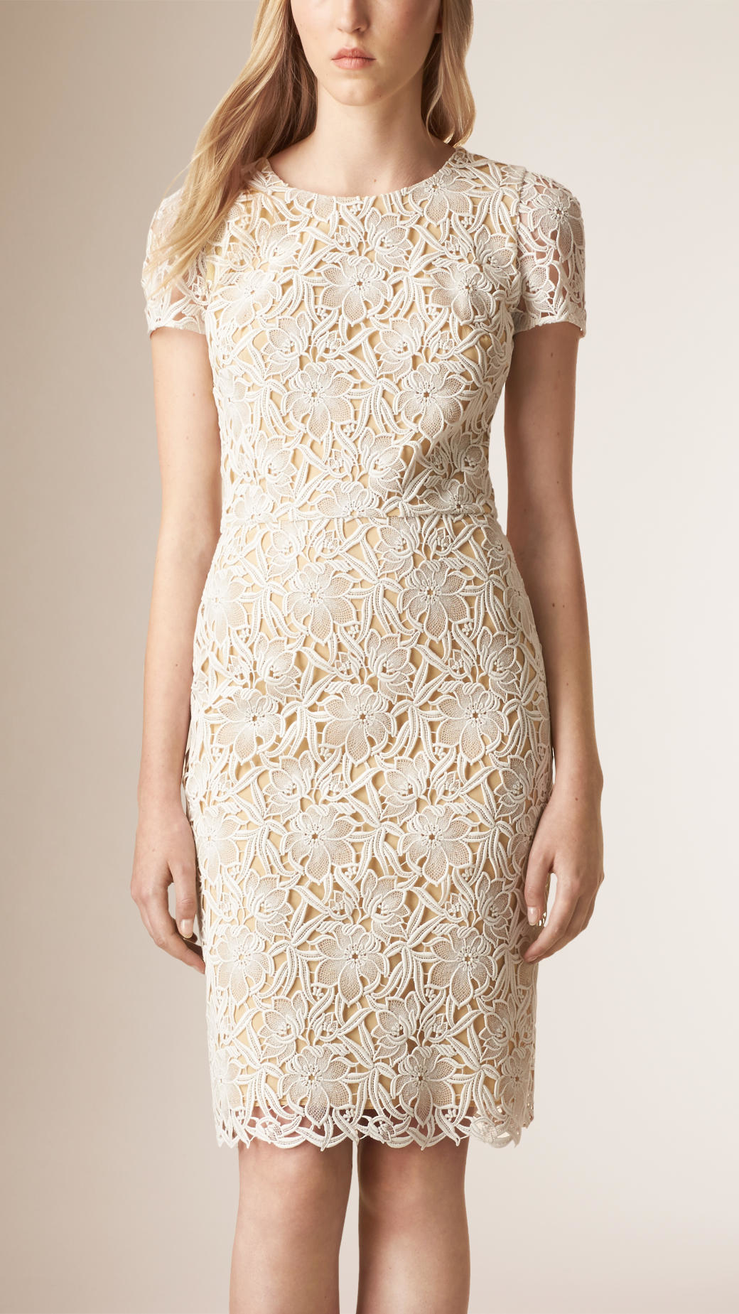 macrame dresses lyst burberry macram 233 lace dress in white 7839
