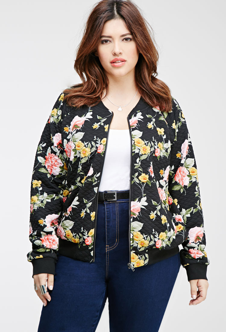 8dbaedc40402a Lyst - Forever 21 Plus Size Quilted Floral Bomber Jacket You ve Been ...
