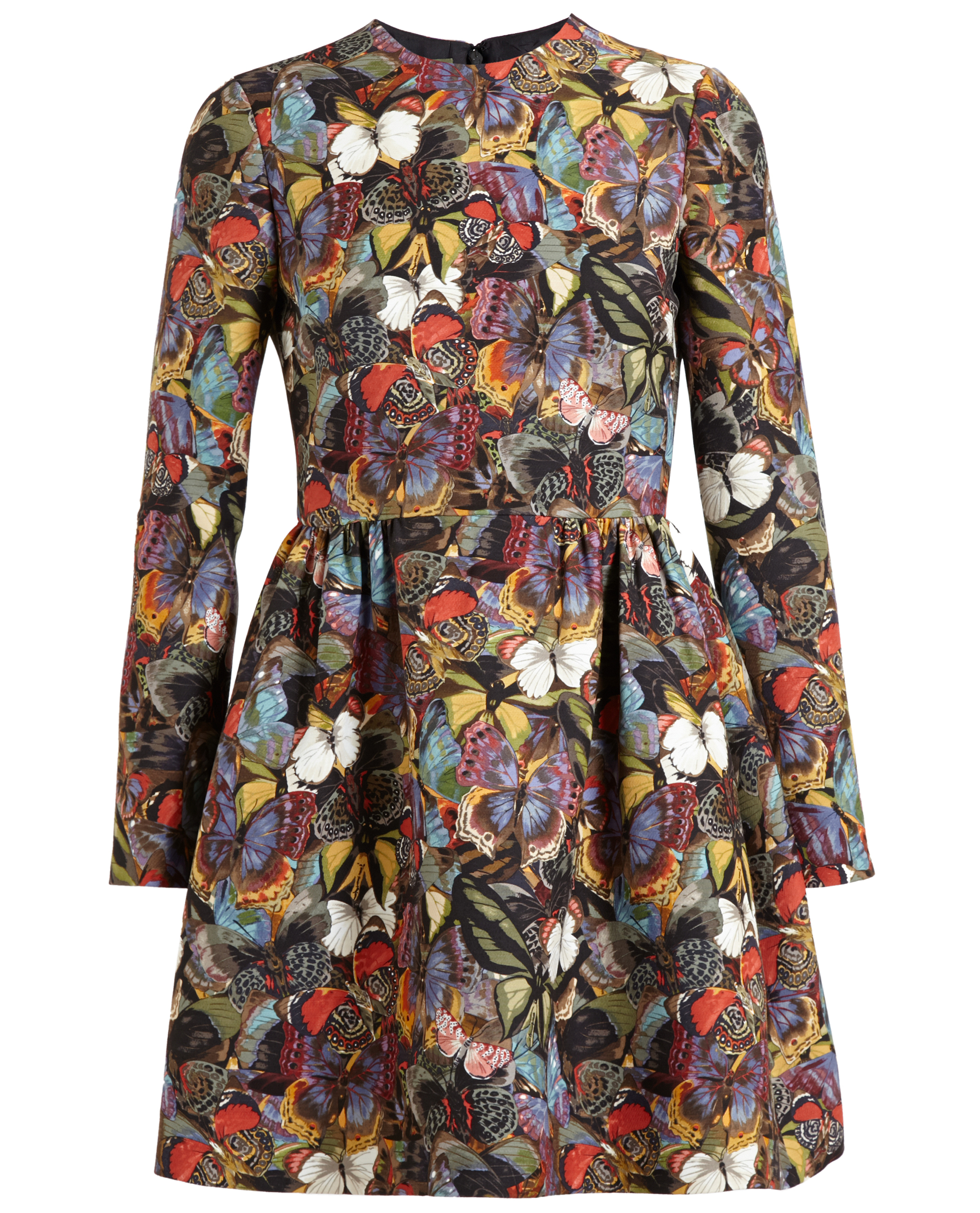 Lyst Valentino Long Sleeve Butterfly Print Bambolina Dress