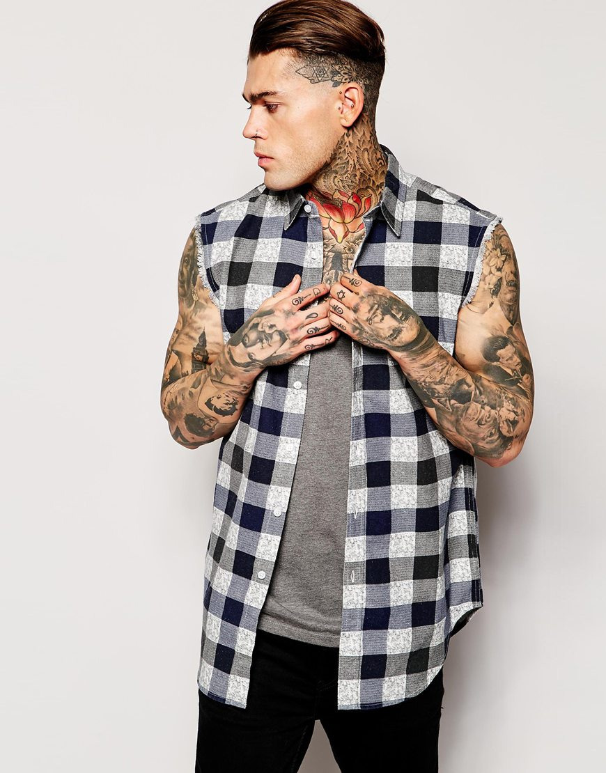 Lyst Asos Sleeveless Shirt With Buffalo Check In Blue