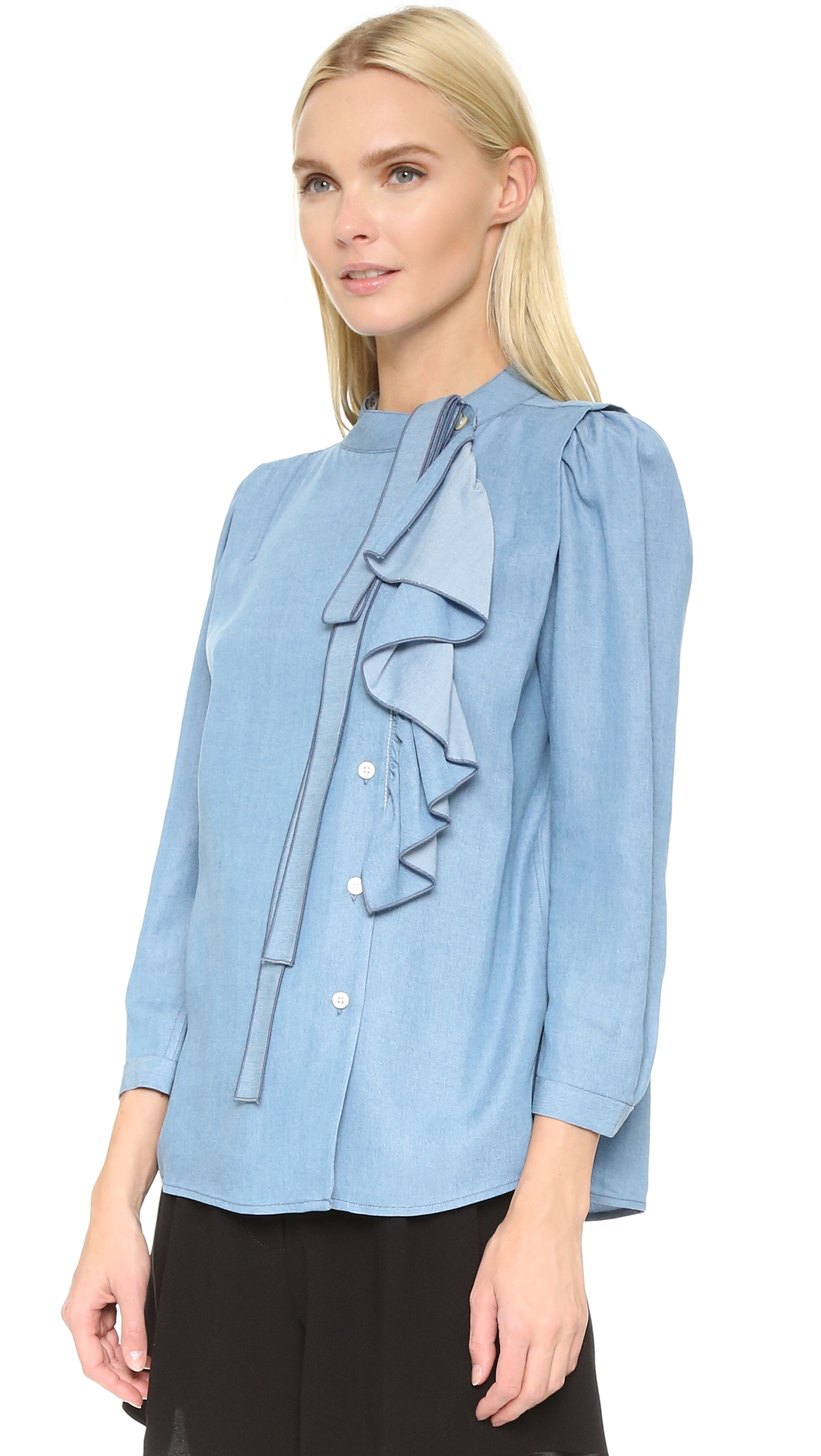 Cheap Outlet Store Under 70 Dollars Blue Ruffle Sleeves Shirt Marc Jacobs zO65E