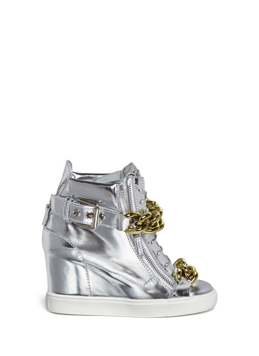 Giuseppe zanotti 'Lorenz' Metallic Leather Wedge Sneakers ...
