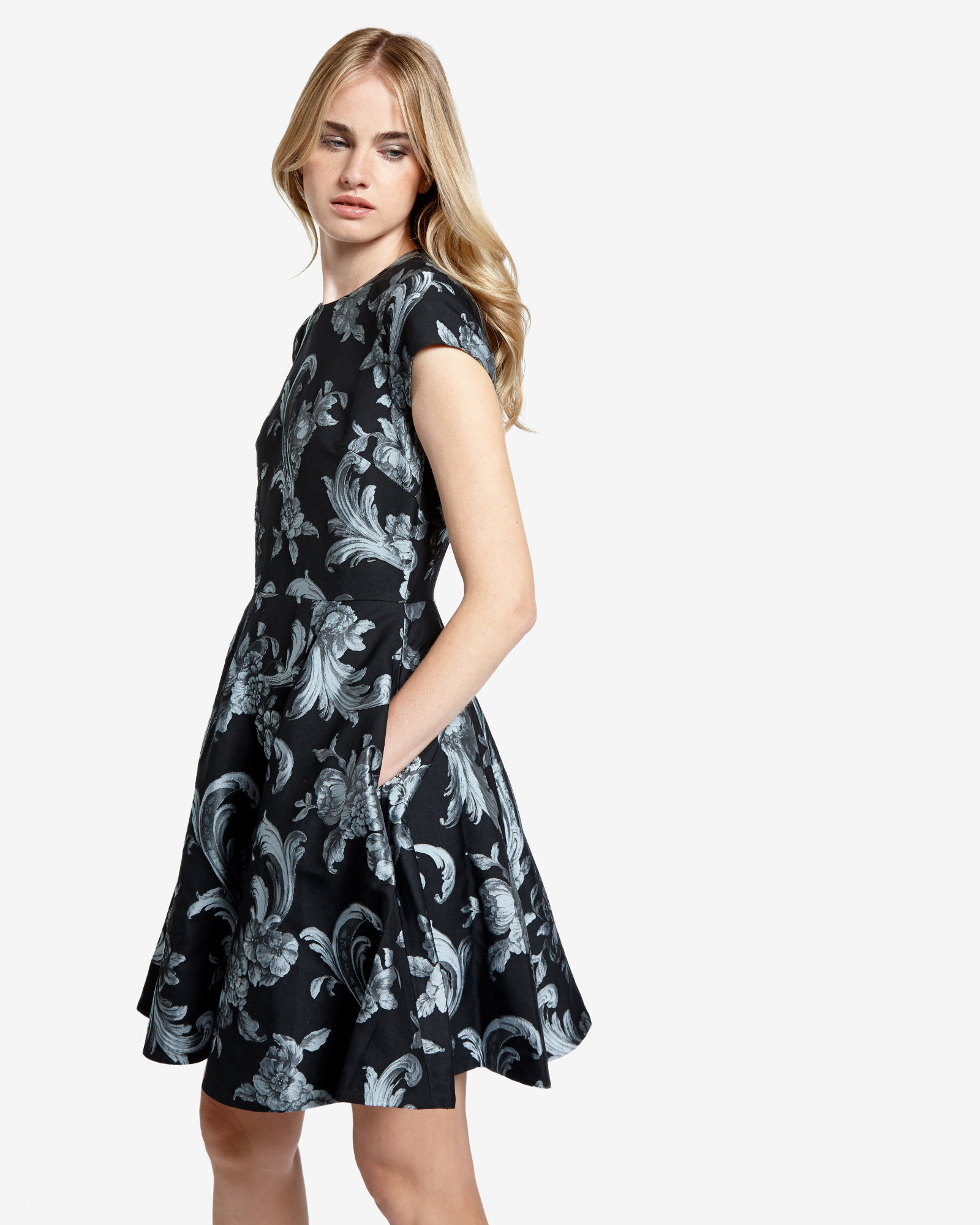 e529775a78ba Lyst - Ted Baker Acanthus Scroll Print Skater Dress in Black