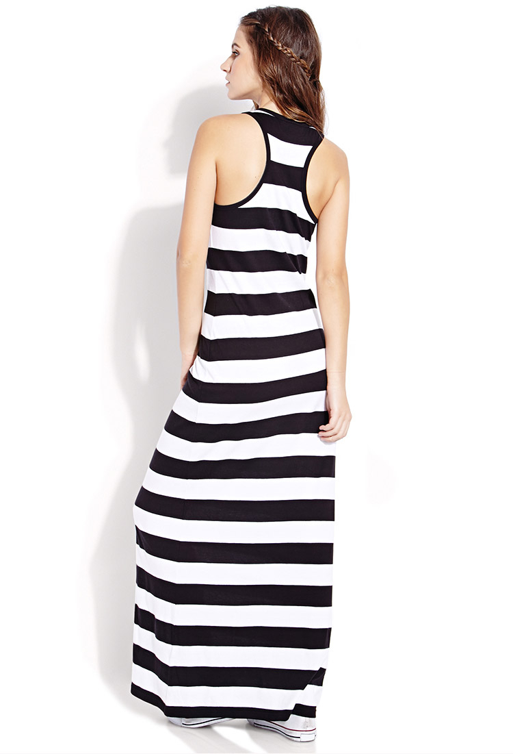 lyst forever 21 out to sea striped maxi dress in black