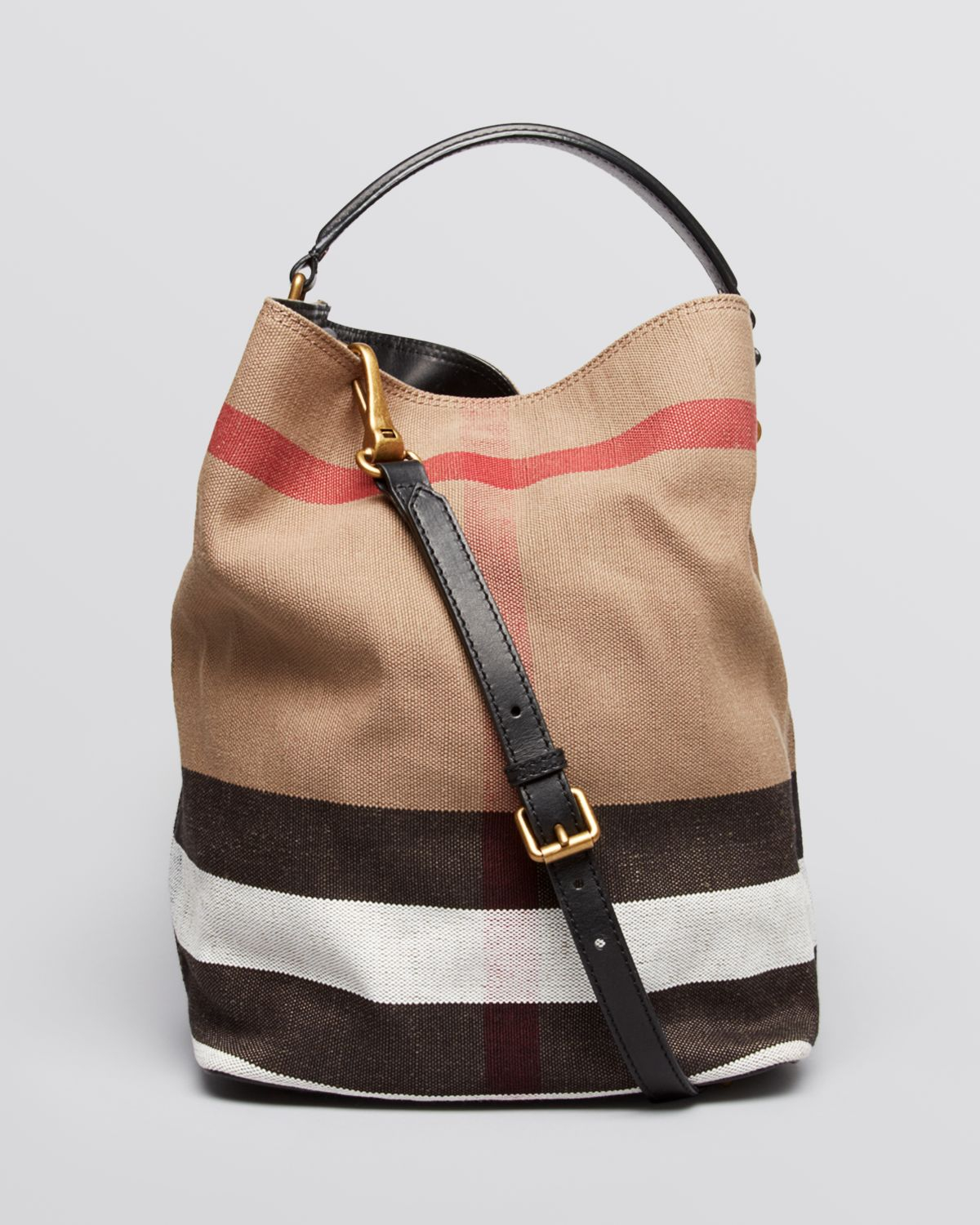 Lyst Burberry Canvas Check Medium Ashby Hobo In Brown