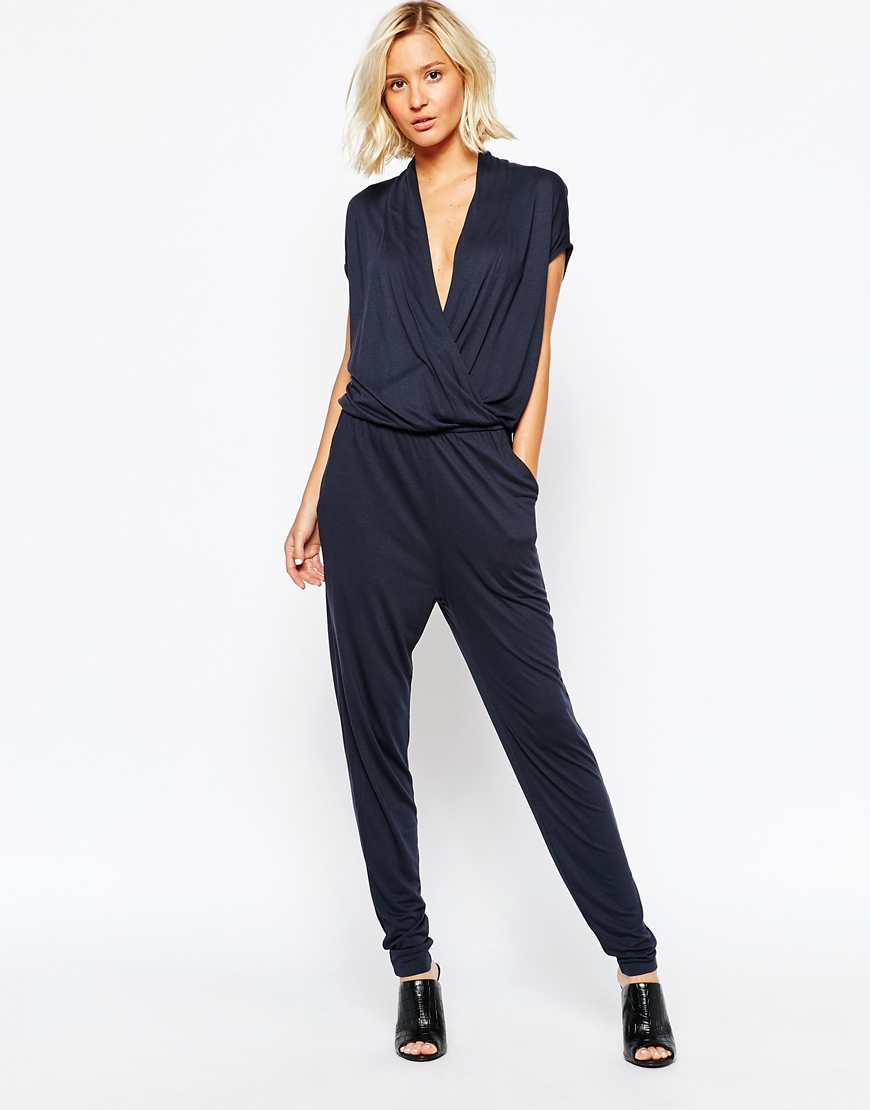 05d6c7a6cff Lyst - SELECTED Silla Wrap Front Jersey Jumpsuit in Blue