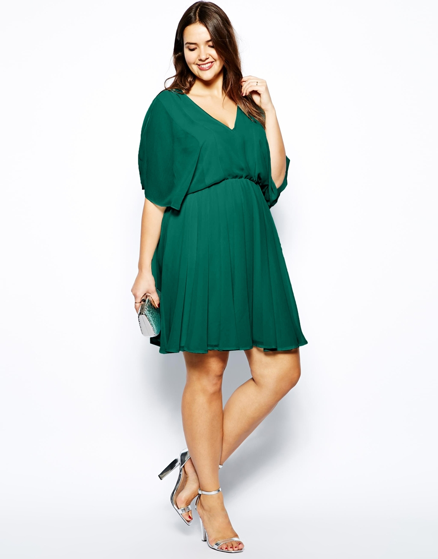 lyst asos exclusive dress with angel sleeve in green. Black Bedroom Furniture Sets. Home Design Ideas