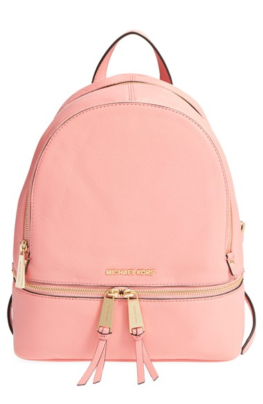 Michael michael kors 'small Rhea Zip' Leather Backpack in Pink | Lyst