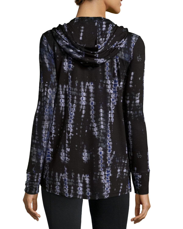 neiman tie dye hooded zip jacket in blue for lyst