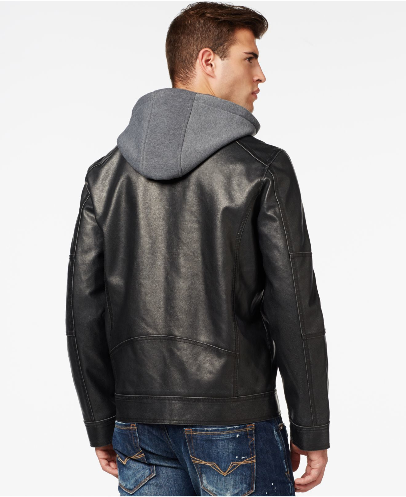 Guess Faux-leather Moto Jacket in Black for Men - Lyst