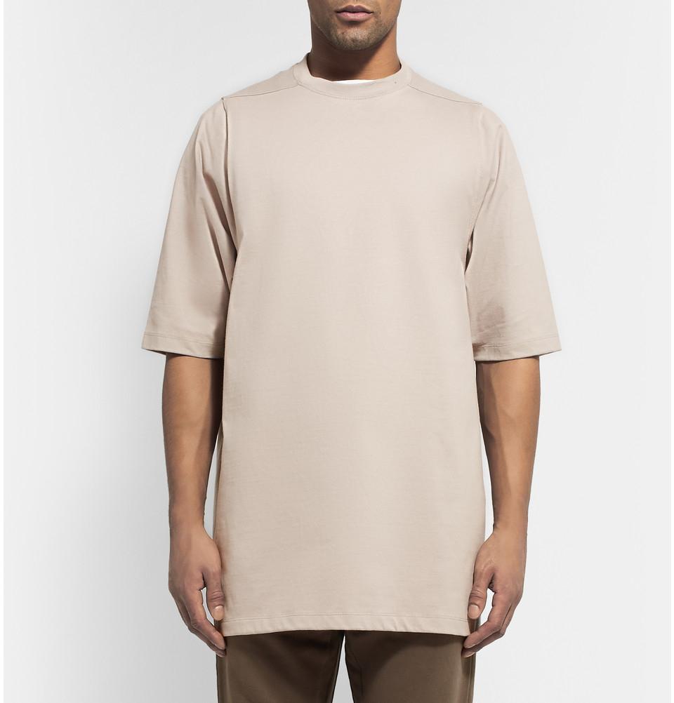 Rick owens Oversized Short-sleeved Cotton Sweatshirt in Natural ...
