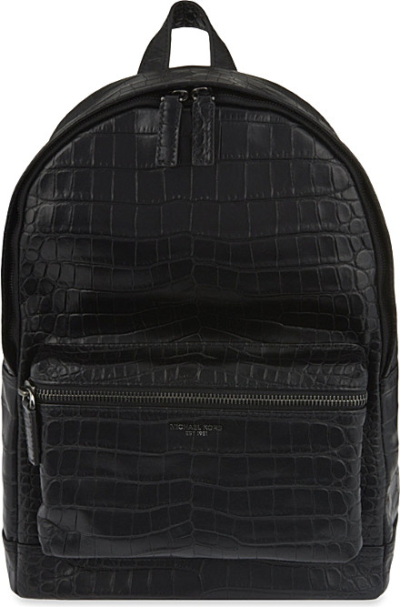 4a2f67bbea Michael Kors Bryant Croc-embossed Leather Backpack