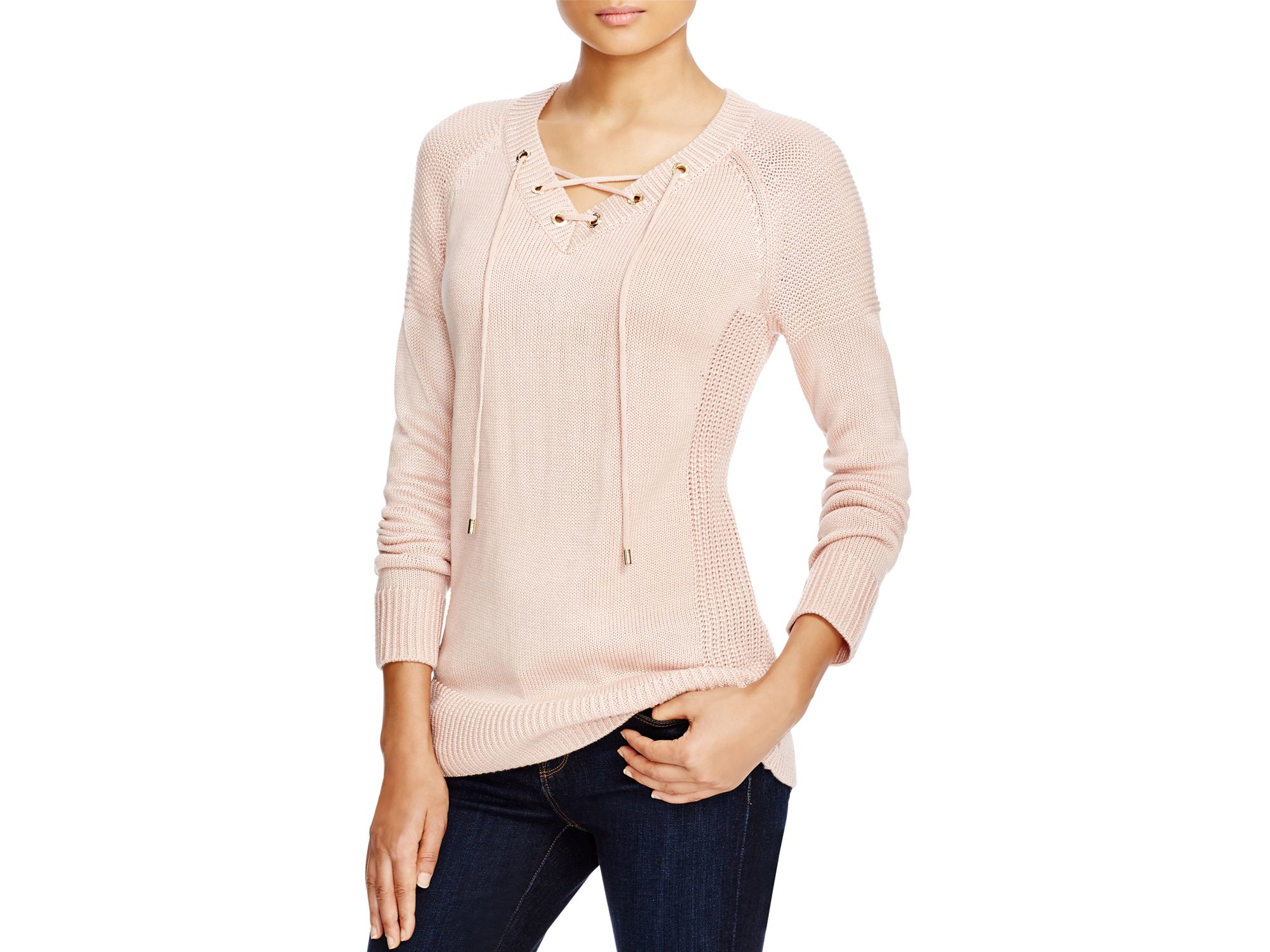 Calvin klein Lace Up Sweater in Pink | Lyst