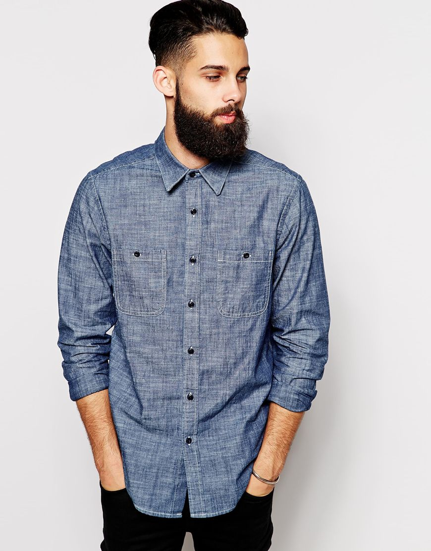 Asos chambray shirt in long sleeve with 2 pockets in blue for Chambray long sleeve shirt