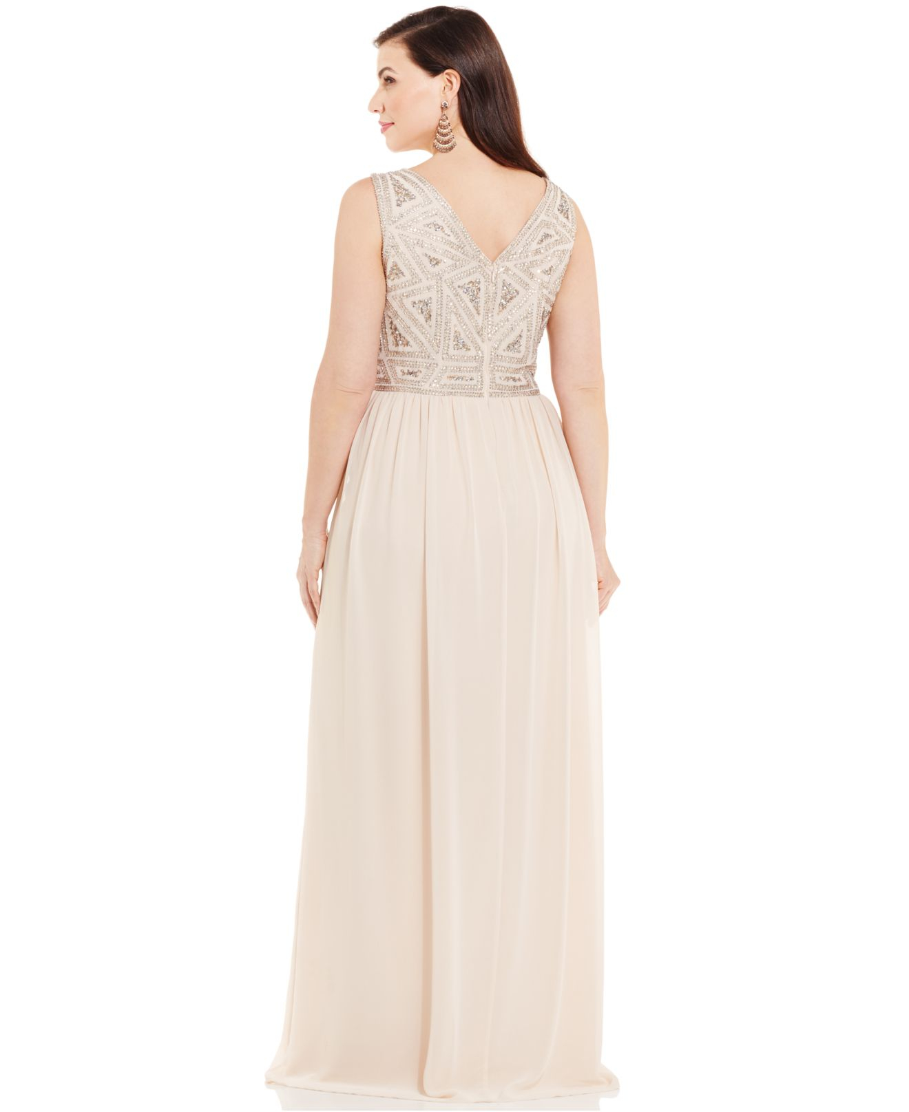 Adrianna papell Plus Size Embellished Gown in Pink | Lyst